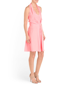Silk Pleated Halter Dress