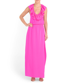 Silk Ruffle Halter Maxi Dress
