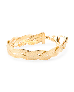 Made In Italy Gold Plated Bronze Braided Herringbone Bracelet