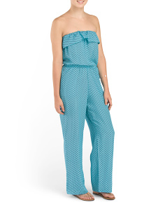 Juniors Printed Tube Jumpsuit