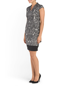 Ponte Scroll Lace Sheath Dress