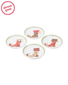 Set Of 4 Stocking Appetizer Plates