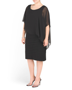Plus Chiffon Overlay Dress
