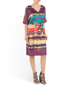 Printed Waist Tie Shift Dress