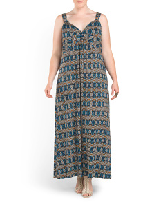 Plus Art Deco Print Maxi Dress