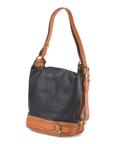 Made In Italy Leather Belted Bucket Bag
