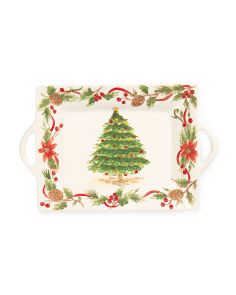 Tree And Garland Handle Tray