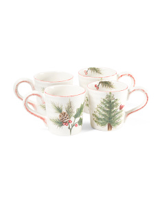 Set Of 4 Cardinal Tree Mugs