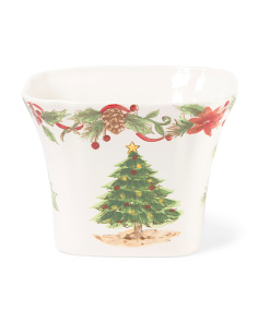 Tree And Garland Square Serving Dish