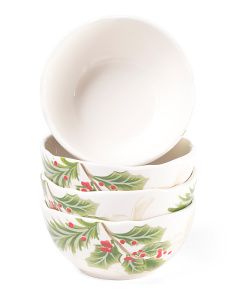 4pk Holly Toile Bowls