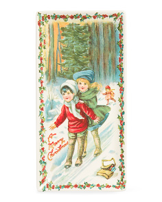 14x7 Victorian Holiday Skaters Tray