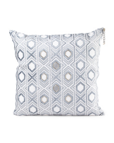 Made In India 22x22 Linen Handcrafted Beaded Pillow