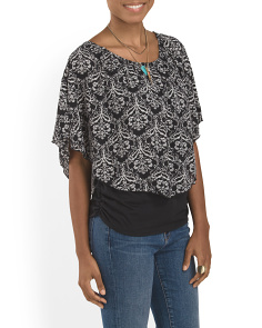 Printed Poncho Overlay Top