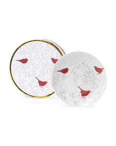 Set Of 4 Winter Birds Plates