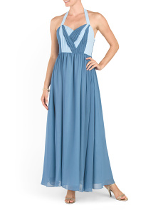 Contrast Shirred Top Gown