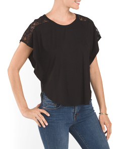 Poncho Tee With Lace Trim