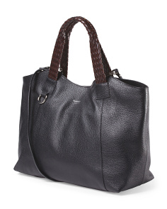 Made In Italy Leather Tote With Braided Handles