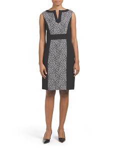 Two Toned Jacquard Print Dress