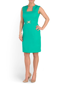 Faille Dress With Hardware Buckle