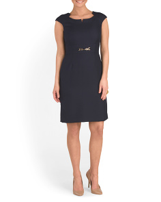 Cap Sleeve Buckle Sheath Dress