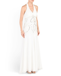 Beaded Long Halter Gown
