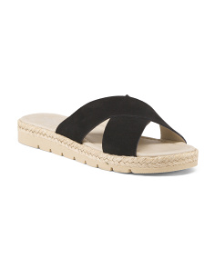 Made In Italy Suede X Band Espadrille Flat