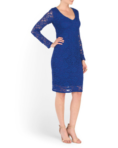 Short Coded Stretch Lace Dress