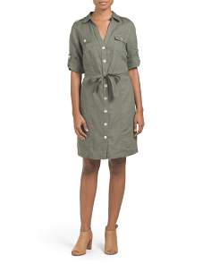 Linen Roll Sleeve Shirt Dress