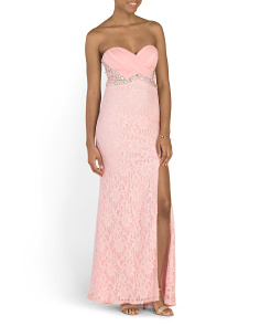 Juniors Strapless Lace Prom Gown