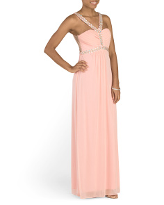 Juniors Jeweled Neck Prom Gown