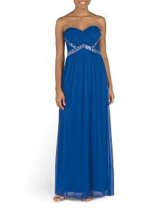 Juniors Strapless Prom Gown