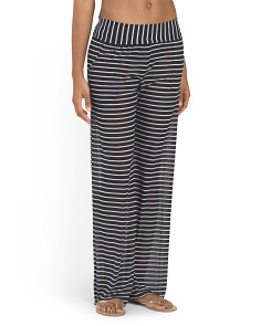 Striped Mesh Cover-Up Pant