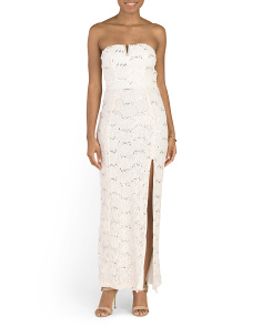 Juniors Strapless Lace Dress