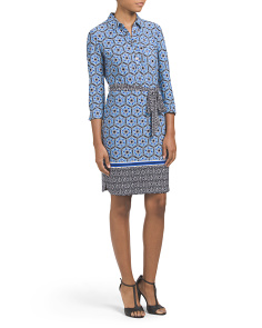 Printed Collared Shirt Dress