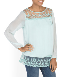 Made In Italy Silk Top With Lace