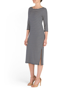 Three Quarter Sleeve Stripe Dress