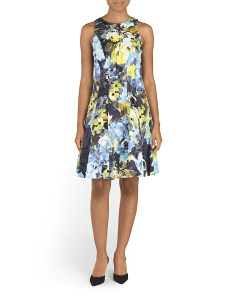 Paint Brush Blossom Fit And Flare Dress