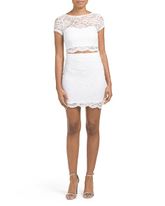 Juniors Short Sleeve Two-Piece Scallop Lace Dress