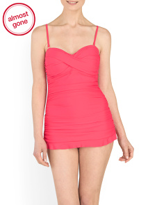 Solid Ruched Swimdress