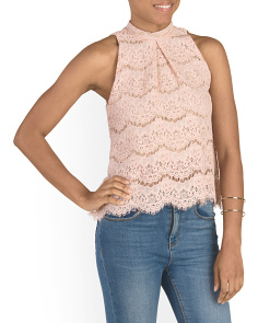Juniors Mock Neck Lace Top