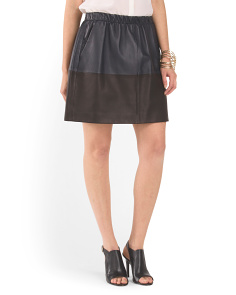 Leather Contrast Band Skirt