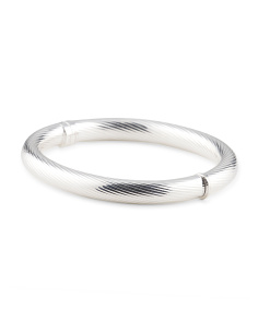 Made In Italy Silver Plated Bronze Chubby Bangle Bracelet