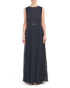 Metallic Lace Pleated Gown