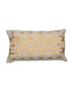Made In India 14x24 Linen Embroidered Pillow
