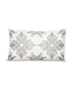 Made In India 14x24 Faux Linen Pillow With Ribbon Embroidery