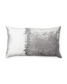 Made In India 14x24 Velvet Pillow With Matte Beading