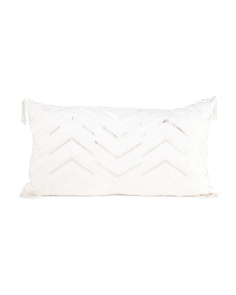 Made In India 14x24 Faux Linen Pillow With Embroidery