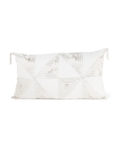 Made In India 14x24 Faux Linen Pillow With Crystal Beading