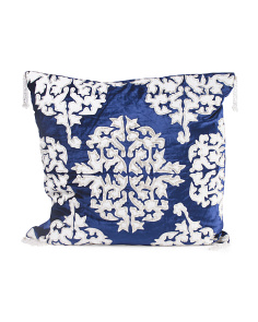 Made In India 22x22 Velvet Pillow With Beading