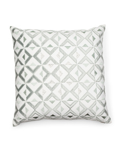 Made In India 22x22 Faux Linen Pillow With Beading